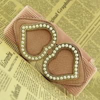 Double heart pearl elastic wide cummerbund sweet all-match one-piece dress fashion belt female