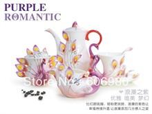 Enamel Porcelain 21pcs European Style PEACOCK Embossed Coffee Tea Set Wedding Gift