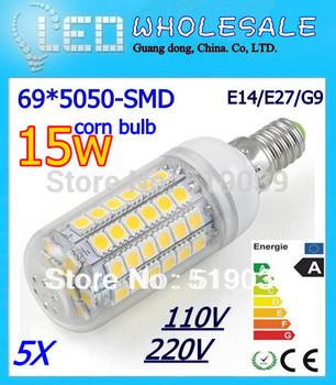 New Arrivals 5pcs 5050SMD 69-LED LED Corn Lamp LED Spotlight Bulb E14/ E27/GU10/B22 15W AC 110V 220V Pure/Warm/Cool White