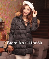 Winter Korean lady double breasted's fur collar jacket