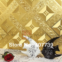 wholesale 5.3square meter/roll New eco-friendly gold foil wallpaper tile wall papers roll free shipping
