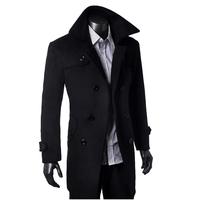 Fighting fish wool coat medium-long woolen overcoat slim wool coat outerwear male