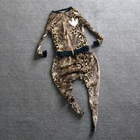 2013 Women autumn fashion leopard print pattern sports outerwear harem pants casual set