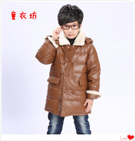 Free shipping  New 2013 Autumn and winter In the long section of the boy down jacket Korean cortex section