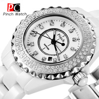 Pinch ceramic watch female white ladies watch waterproof diamond watch full rhinestone lovers table fashion table ladies watch