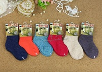 Free shipping Children's winter wool cashmere socks chromophous quality baby socks soft kid's socks 6 pairs/lot