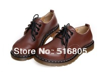 2014 Cowhide women genuine leather shoes vintage big head style rustic small leather female fashion preppy lacing flats EUR 40