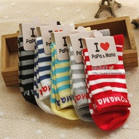 Spring and autumn classic stripe all-match multi-colored 100% cotton socks children sock handmade