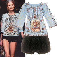 Desinger 2013  fashion ruslana korshunova baroque royal print twinset lace shorts   for women leisure sports hoodie set