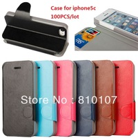 Free shipping 100PCS iphone5c case Phone Protection Case Phone holster Phone package High quality leather