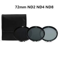 3 pcs 72MM 72 mm Neutral Density ND2 ND4 ND8 Lens Filter Kit Set ND 2 4 8 ND+2+4+8 + Cloth Bag Case For Canon Nikon Sony Camera