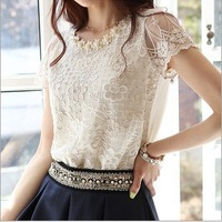 2013 Women New Brand White Galaxy flower print Mesh Lace Embroidery Crochet Pearl Casual  shirt blouse tops blusas femininas