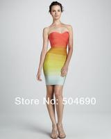 2014 New Colour Fashion Knitted Elastic HL Bandage Dress Ladies Sexy Evening Dress Celebrity Dress Rainbow Colour Dress