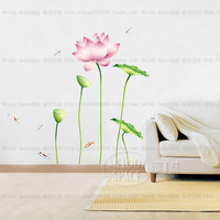 Free shipping 2014 Hot sale DIY lotus Flower Wall Stickers Mural Decals Art Decor Home decoration