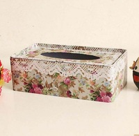 Lace decoration tissue box storage box