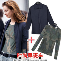 Fashion Fashion fashion 2013 women's jacket type casual shirt Camouflage gauze basic shirt  Blazers