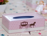 Fashion pink princess carriage tissue leather box iron box pumping tissue box desktop decorations