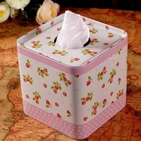 Pink cherry dot tissue paper towel tube pumping roll box square tin box decoration tissue box
