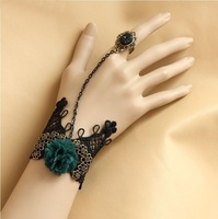 Blue Flower  fashion DIY bracelet with ring restoring ancient lace suit bride is  article