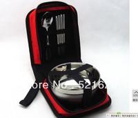 3pc  stanless bowel  chopsticks scoop traveler set portable tableware dinner ware