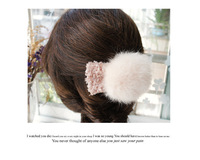 Free shipping  Fashionable sweet rabbit hair ball bowknot hairpin hairpin headdress 2 colors