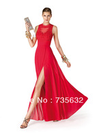 New  Free shipping Red Fashion Sexy A line Floor length  Applique Lace Chiffon Evening dress Evening Gown A232