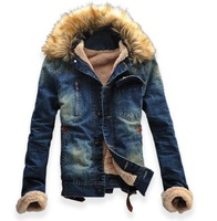 New Men's Classic Vintage Denim Wool Fleece Warm Winter Outerwear Jacket Coat DM001