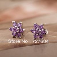 free shipping 925 pure silver stud earring Women earrings female belt zircon stud earring silver jewelry