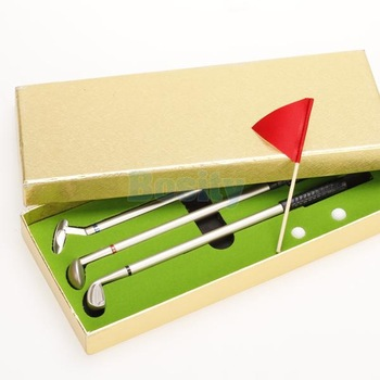 Golf Club Golfers Replica Aluminum Alloy Ballpoint Pens Balls Flag Gift Box Set