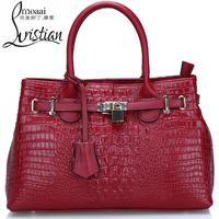 Free shipping Luxury genuine leather handbag Girls/ women's crocodile pattern tote bag  Shoulder bag fashion all-match