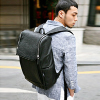 Black PU leather big Mens Womens Backpack School bag Bookbag Casual Vintage College Computer  Faux leather bag
