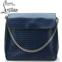 Free shipping Luxury genuine leather handbag Girls/ women's classic knitted bag Shoulder bag fashion all-match