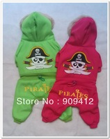 Fashion Green Pirates Four Legs Dog  Clothing Pet Winter Cotton Clothes Teddy Clothes Top Quality
