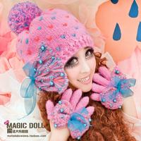 Magic large dolls princess big bow ribbon pearl autumn and winter sweet yarn wool ball cap