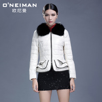free DHL 2013 100%genuine leather fox fur down coat short outerwear slim design 100%sheepskin leather clothing female