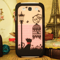 Lovely Cat and Birdcage Pattern 2 in 1 Detachable Hard Case for Samsung Galaxy S3 I9300