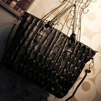2014 spring female fashion quilting dimond plaid handbag chain bag vintage one shoulder big bag black
