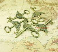 50PCS Antique Vintage Skeleton  Key Pendant Heart Bow Lock Steampunk Wedding Gift