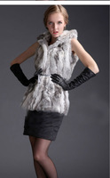 Winter Women Genuine Rabbit fur vest vests gilet gilets with hood
