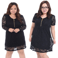 New 2014 fashion dress. big size women's short sleeve lace dress, long sleeve dress , big size women clothes, 4xl,