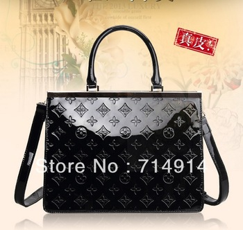 2013 Women Lady Embossed 100% Genuine Real Leather Tote Shoulder Bag Satchel New Designer Style Hobo Purse Hand Bag Free Ship