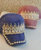 2013 baseball cap female rabbit fur cap diamond handmade winter hat