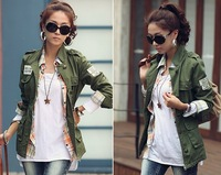 2014 Winter And Autumn Women Embroidery Military Army Green Jacket Drawstring Patchwork Foldable Sleeve Coat TJ3001