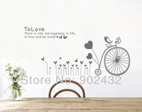New 2013 Removable Vinyl Wall Quote Sticker Home Decor Gray Heart and Bicycle Wall Decals Mural Art for Living Room Backdrop