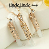 18K Rose Gold Plated High Quality Opal Rhinestone Inlaid Hollow Out Totem Design Lady Jewelry Sets Earrings/Necklace