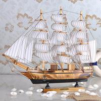 Wood craft handmade solid wood decoration sailing boat model 40 mdash . marine 4 33cm