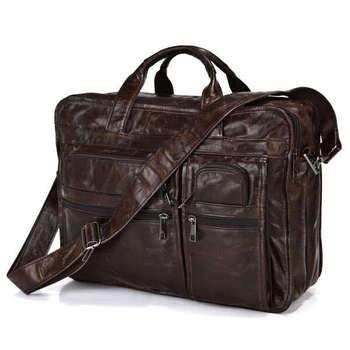 100% Genuine Vintage Leather Men's Chocolate Messenger Bag Briefcase Laptop # ...