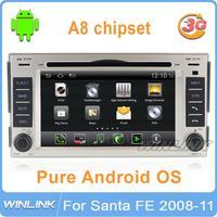 S150 platform Pure Android 4.0 car gps navigation dvd radio steering wheel control 3G wifi USB SD for HYUNDAI SANTA FE 2006-2012