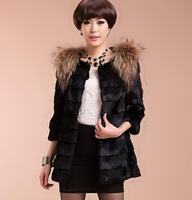 Free shipping 2014 new mink hair elegant three quarter sleeve minddle-long overcoat short design faux fur outerwear coat (S-XL)