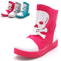 2013 litchi children shoes skull medium cut canvas shoes for children 4-6 a-08